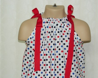STORE CLOSING, Anchors Away Pillowcase Dress, Red, White, Blue, Size 4t, (RTS)