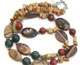 Natural Desert Jasper Dark Green Jade Gemstone Beaded Necklace with Copper leaf beads and Silver Toggle Clasp