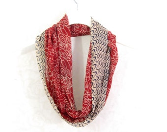 Red Scarf Cotton Infinity Scarf Gift for Her Circle Scarf Sari Scarf Spring Scarf Summer Scarf Lightweight Scarf Upcycled Scarf Eco Fashion