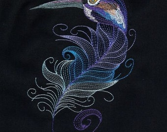 BIRDS OF A FEATHER #4 -Machine Embroidered Quilt Block AzEB