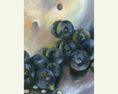 original oil painting - Blueberry Swish still life of blueberries by Jo Bradney / small mini art /