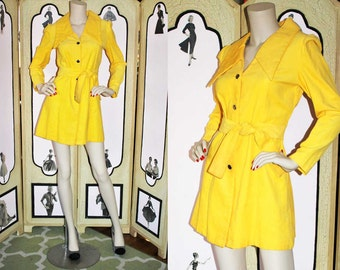 70's Mini Coat Dress Jacket with Puff Shoulders and Dramatic Collar in Lightweight Yellow Corduroy. Made in Japan.