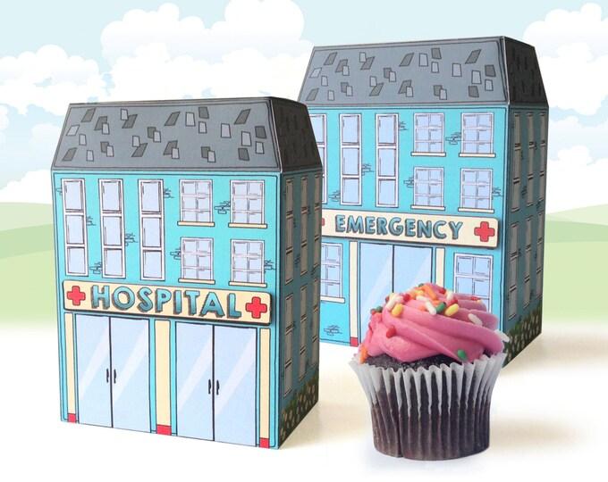 Hospital Box -Doc McStuffins, Nurse Graduation, Nurse/Doctor Party, Cupcake Box, Gift Box-Instant Download DIY Printable PDF Kit