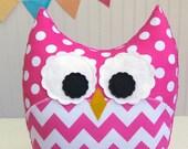 Chevron Pillow Large Plush Owl Pink Nursery Decor Ready to Ship