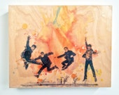 Wood Panel The Beatles Art Print from Original Watercolor Painting on Wood 8x10 in The Beatles Print On Wood Panel