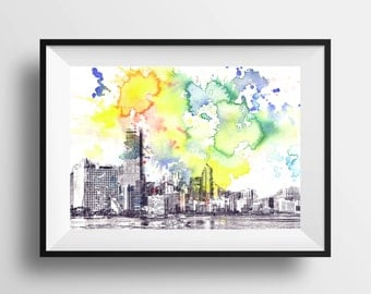 Miami Skyline Landscape Art Print From Original Watercolor Painting 8 x 10 in. Miami Art Print