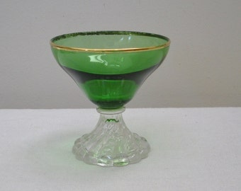 Vintage Anchor Hocking Bubble Green Sherbet with Gold