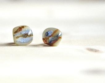 925 sterling silver Handpainted fused Ivory color glass stud earrings