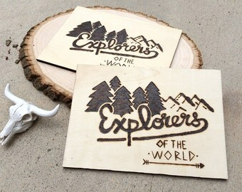 Explorers of the World Wooden Plaque