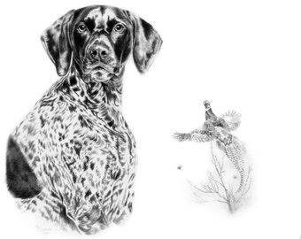Pet Portrait Dog Sketch Art Dog Drawing 8x10 Print German Short Hair Pointer