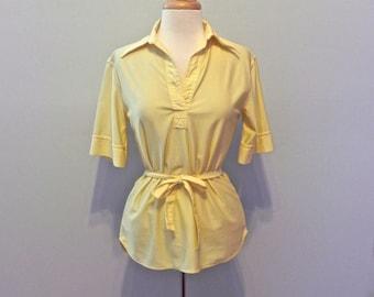 Vintage Yellow Shirt with Sash Belt M - on sale