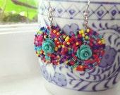 Mexican Rose Mandala Earrings