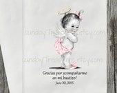 12 PAK Baptism Christening Favor Gift Bag / Vintage Baby Girl Pink or Lavender Bloomers Angel Wings Halo / SPANISH / Shabby Chic 3 DayShip