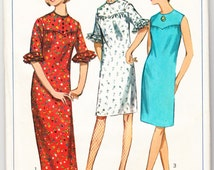 Vintage 1966 Simplicity 6514 Sewing Pattern Junior Petites' Dress in Two Lengths and Scarf Size 13jp Bust 33-1/2