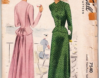 Vintage 1949 McCall 7540 Sewing Pattern Misses' Two-Piece Suit Dress Size 15 Bust 33