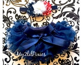 Baby girl Set-Ruffle skirt and Red White Navy Blue Baby Girl headbad. Diaper cover, skirt, tutu, Flower headband- 4th of July-