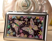Mother of Pearl Butterfly Flower Women Lady Slim Thin Cigarette Tobacco Holder Case Box Storage Wallet