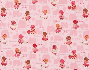 Cosmo Sunbonnet Sue Retro Inspired Cotton Fabric AP45305-2B  Pink Out for a Stroll
