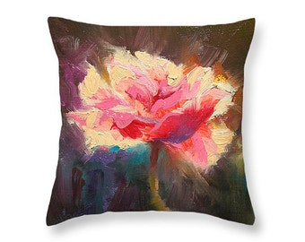 pink poppies painting-poppy pillow-pink throw pillow-pink cushion decor-pink decorative cotton pillow-flower design decorative pillow