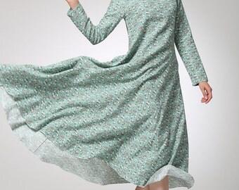 dresses for women, Maxi Dress, Linen Dress, Women Dresses, Long Dress, Linen Maxi Dress, Loose Dress, blue floral dress, print dress (1244)