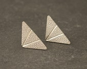 Silver Triangle Stud Earrings- Silver Chevron Studs- Silver Triangle Earrings- Small Silver Triangle Earrings- Sterling Silver Post Earrings
