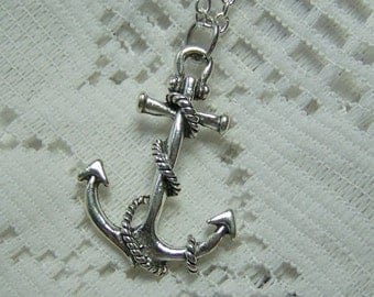 Large ANCHOR Necklace - Silver - Large Dimensional Pendant - Nautical Anchor - Fouled Anchor - Boating - Sailing - USN - Maritime