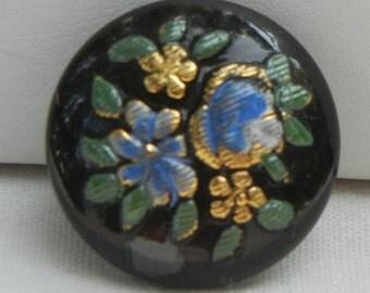 Embroidered Bouquet Czech Glass Button