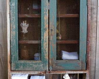Reclaimed Wood - Chicken Coop Salvaged Doors - Rustic Wall Shelves - Bath Storage - Kitchen Storage - Spice Cabinet - Dorm Room - Home Decor