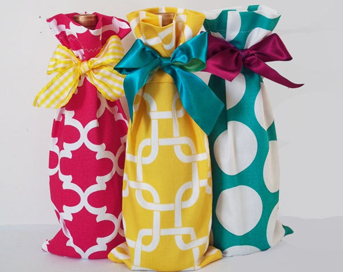 Wine Bag Collection 3 pack, Wine Sacks, Picnic Wine Cozy, Party Favor Bags, Wine Accessories, Wine Lover Gift, Mothers Day gift