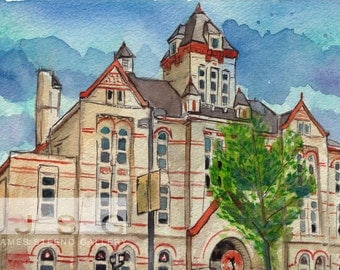 Turner Hall Milwaukee, Wisconsin Watercolor Art Print by James Steeno