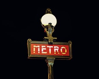 Paris Decor, Midnight in Paris, Paris Subway Photography, French Decor, Fine Art Travel Photograph, Metro Art Print - Metro
