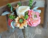 Rustic Peach Rose and Ranunculus Succulent Bridesmaid Bouquet