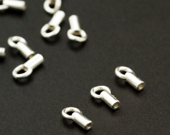 10 Sterling Silver End Caps with Rings - 4.8mm X 3.4mm - Made in the USA