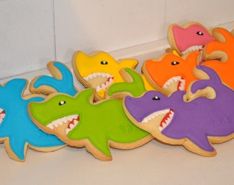 Shark Hand Decorated Sugar Cookies