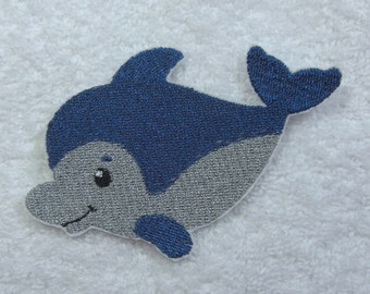 Dolphin Iron on Embroidered Iron On Applique Patch Ready to Ship