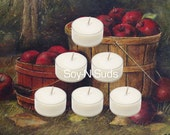 AUTUMN APPLES  // Scented Tea Lights // 6 Pack Homemade Soy Candles // Dye Free