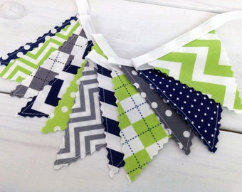 Bunting Banner Mini, Fabric Banner, Fabric Flags, Baby Boy Nursery Decor, Birthday Decoration - Navy Blue, Lime Green, Gray, Grey, Chevron