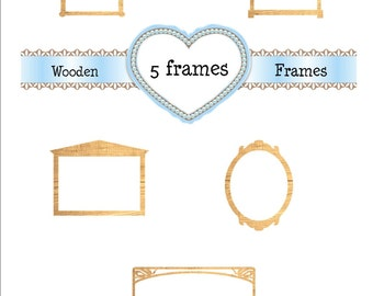5 Wood Frames Clipart Graphics