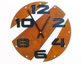 Slice I, Medium Wall Clock, Rusted Wall Clock, rustic wall clock, unique wall clock, modern wall clock, steampunk wall clock