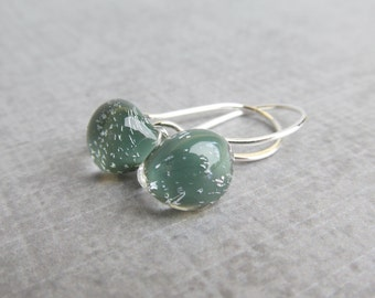Dark Sage Green Earrings, Gray Green Teardrop Earrings, Sparkle Earrings, Everyday Earrings, Small Earrings, Sterling Silver Wire Earrings