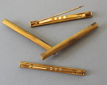 Vintage Brass Blank Rectangle Pins