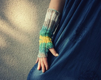 Toned palette - crocheted openwork lacy multicolored Mittens Fingerless Gloves Wrist Warmers