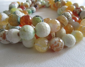 Yellow Lemon Lime Mix Fire Agate Faceted Rounds Half Strand