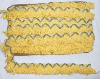 Vintage Fringe Trim Textured  Sage Green and  Yellow Zig Zag Chevron  Mod Hippy Hippie 13 Yards