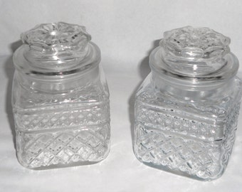 2 Vintage Anchor Hocking Diamond Motif Pressed Glass Apothecary Jars Storage Containers Wedding Candy Buffet