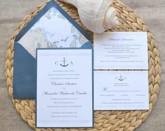 Monogrammed Anchor Wedding Invitation Card Suite
