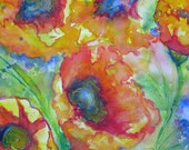 abstract floral original watercolor art, floral home decor, wall decor, abstract poppies, flower garden painting, original flower painting