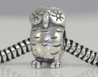 1 x Authentic Sterling Silver Charm Owl King Bead For European Charm bracelet #EC27