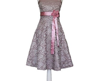 VIENNA _ Dress with Lace, Wedding Dress, taupe, pink, dusty rose, shabby chic, wedding, bride, gray, bridesmaid, prom, halterneck