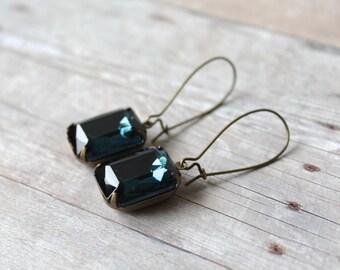 Dark Sapphire Blue Vintage Glass Earrings, Navy Earrings, Vintage Earrings